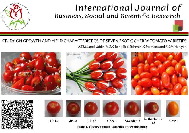 STUDY ON GROWTH AND YIELD CHARACTERISTICS OF SEVEN EXOTIC CHERRY TOMATO VARIETIES