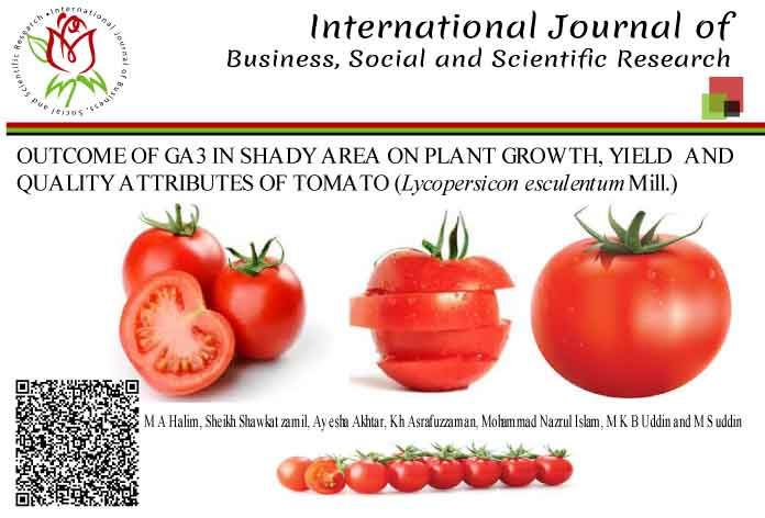 OUTCOME OF GA3 IN SHADY AREA ON PLANT GROWTH, YIELD AND QUALITY ATTRIBUTES OF TOMATO (<i>Lycopersicon esculentum</i> Mill.)