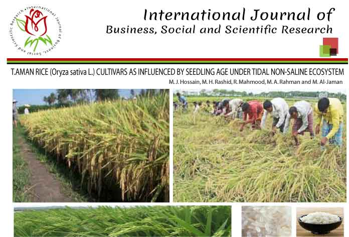 YIELD AND YIELD COMPONENT OF T.AMAN RICE (Oryza sativa L.) CULTIVARS AS INFLUENCED BY SEEDLING AGE UNDER TIDAL NON-SALINE ECOSYSTEM