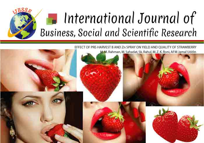 EFFECT OF PRE-HARVEST B AND Zn SPRAY ON YIELD AND QUALITY OF STRAWBERRY