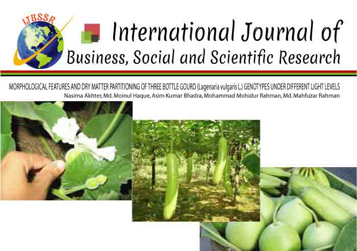 MORPHOLOGICAL FEATURES AND DRY MATTER PARTITIONING OF THREE BOTTLE GOURD (Lagenaria vulgaris L.) GENOTYPES UNDER DIFFERENT LIGHT LEVELS