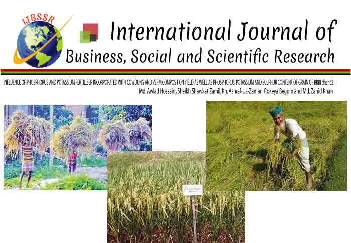 INFLUENCE OF PHOSPHORUS AND POTASSIUM FERTILIZER INCORPORATED WITH COWDUNG AND VERMICOMPOST ON YIELD AS WELL AS PHOSPHORUS, POTASSIUM AND SULPHUR CONTENT OF GRAIN OF BRRI dhan62