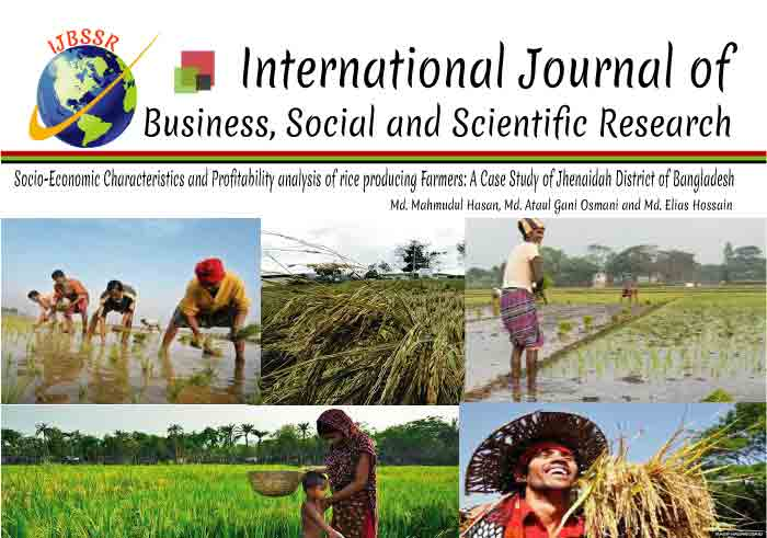 SOCIO-ECONOMIC CHARACTERISTICS AND PROFITABILITY ANALYSIS OF RICE PRODUCING FARMERS AT JHENAIDAH DISTRICT IN BANGLADESH