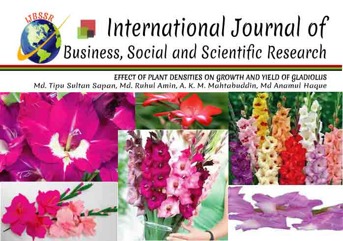 EFFECT OF PLANT DENSITIES ON GROWTH AND YIELD OF GLADIOLUS