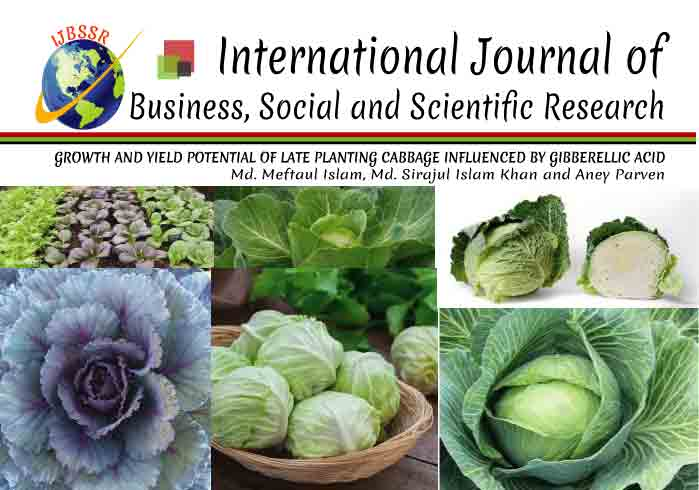 GROWTH AND YIELD POTENTIAL OF LATE PLANTING CABBAGE INFLUENCED BY GIBBERELLIC ACID