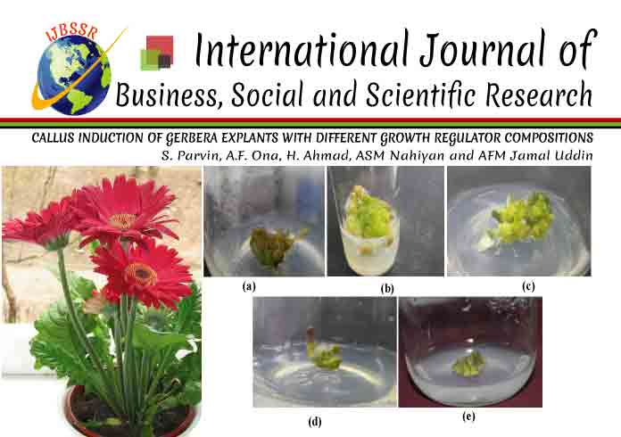 CALLUS INDUCTION OF GERBERA EXPLANTS WITH DIFFERENT GROWTH REGULATOR COMPOSITIONS