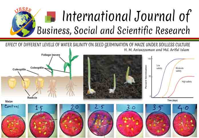 EFFECT OF DIFFERENT LEVELS OF WATER SALINITY ON SEED GERMINATION OF MAIZE UNDER SOILLESS CULTURE