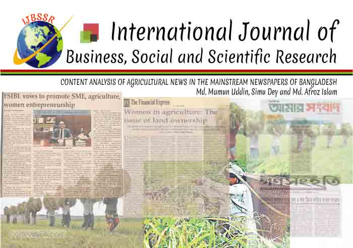 CONTENT ANALYSIS OF AGRICULTURAL NEWS IN THE MAINSTREAM NEWSPAPERS OF BANGLADESH
