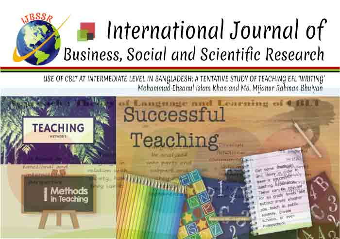 USE OF CBLT AT INTERMEDIATE LEVEL IN BANGLADESH:  A TENTATIVE STUDY OF TEACHING EFL 'WRITING'