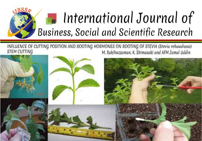 INFLUENCE OF CUTTING POSITION AND ROOTING HORMONES ON ROOTING OF STEVIA (Stevia rebaudiana) STEM CUTTING
