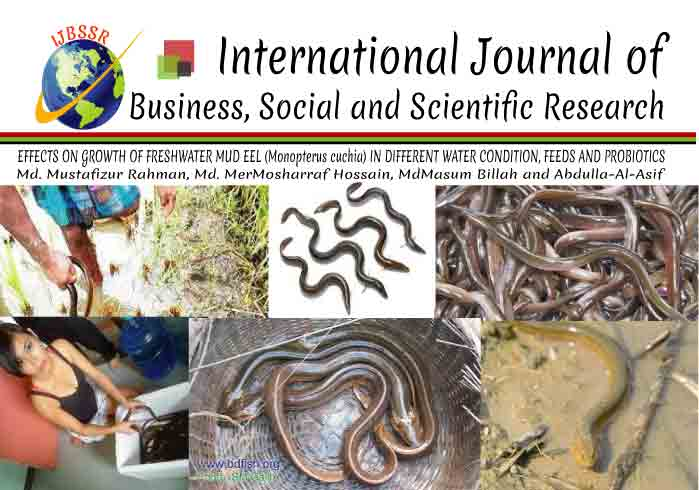GROWTH OF FRESHWATER MUD EEL (Monopterus cuchia) IN DIFFERENT WATER CONDITION, FEEDS AND PROBIOTICS