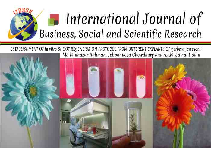 ESTABLISHMENT OF In vitro SHOOT REGENERATION PROTOCOL FROM DIFFERENT EXPLANTS OF Gerbera jamesonii