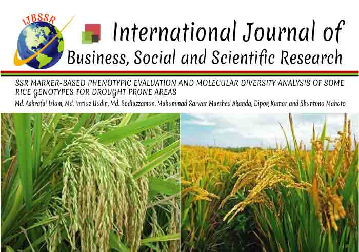 SSR MARKER-BASED PHENOTYPIC EVALUATION AND MOLECULAR DIVERSITY ANALYSIS OF SOME RICE GENOTYPES FOR DROUGHT PRONE AREAS