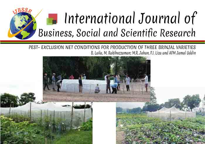 PEST- EXCLUSION NET CONDITIONS FOR PRODUCTION OF THREE BRINJAL VARIETIES