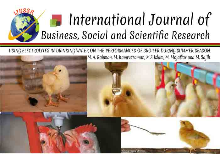 USING ELECTROLYTES IN DRINKING WATER ON THE PERFORMANCES OF BROILER DURING SUMMER SEASON