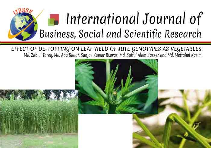 EFFECT OF DE-TOPPING ON LEAF YIELD OF JUTE GENOTYPES AS VEGETABLES