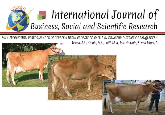 MILK PRODUCTION PERFORMANCES OF JERSEY × DESHI CROSSBRED CATTLE IN DINAJPUR DISTRICT OF BANGLADESH