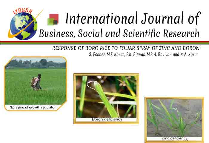 RESPONSE OF BORO RICE TO FOLIAR SPRAY OF ZINC AND BORON
