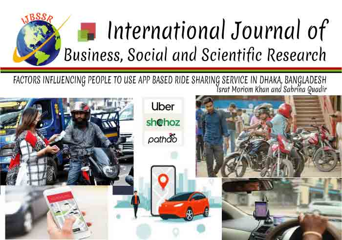 FACTORS INFLUENCING PEOPLE TO USE APP BASED RIDE SHARING SERVICE IN DHAKA, BANGLADESH