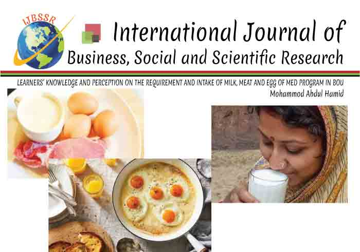 LEARNERS' KNOWLEDGE AND PERCEPTION ON THE REQUIREMENT AND INTAKE OF MILK, MEAT AND EGG OF MED PROGRAM IN BOU
